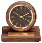 American Walnut Round Clock with Pen Boss Gift Awards