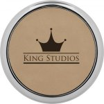 Leatherette Round Coaster with Silver Edge -Light Brown Employee Awards