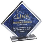 Reverse Engraved On Back  Diamond Acrylic Award Sales Awards