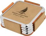 Leatherette Square Coaster Set with Silver Edge -Light Brown  Sales Awards