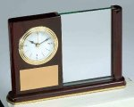 Piano Finish Mahogany Rectangle Clock with Glass Secretary Gift Awards